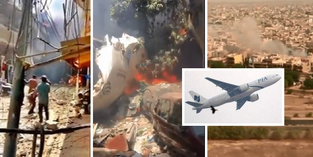 PIA Plane Crashed in Residential Street, Many Passengers Died, 6 Houses Damaged