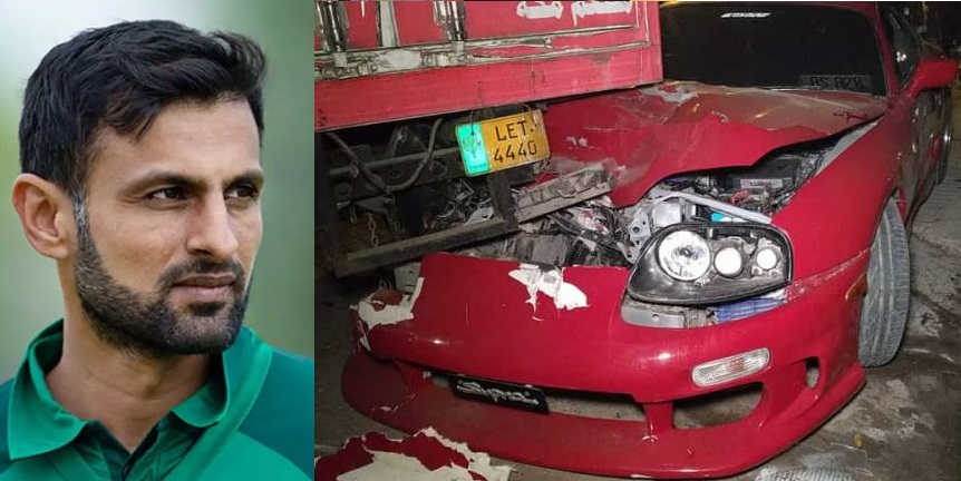 Shoaib Malik Crashes His Over-Speeding Sports Car into Truck in Lahore